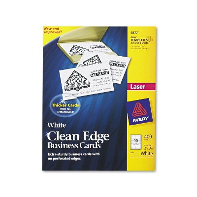 Avery Clean Edge Business Cards Laser 2 x 3 1/2 White 400/Box 5877