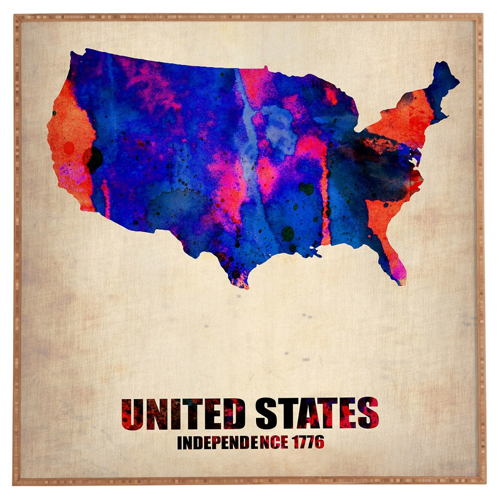 Naxart USA Watercolor Map 1 Framed Wall Art - Deny Designs, Bayou Blue