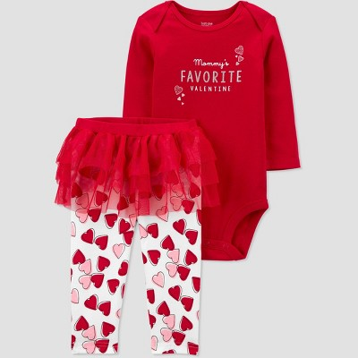 Baby Girls' 2pc Valentine's Day Tutu Top and Bottom Set - Just One You® made by carter's Red/Off-White Newborn