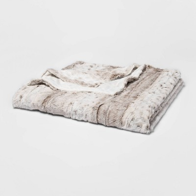 "55"" x 80"" Faux Fur Bed Throw Snow Leopard - Threshold™"