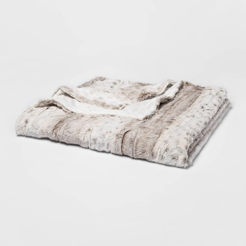 """55"""" x 80"""" Faux Fur Bed Throw Snow Leopard - Threshold™ - image 1 of 4"""
