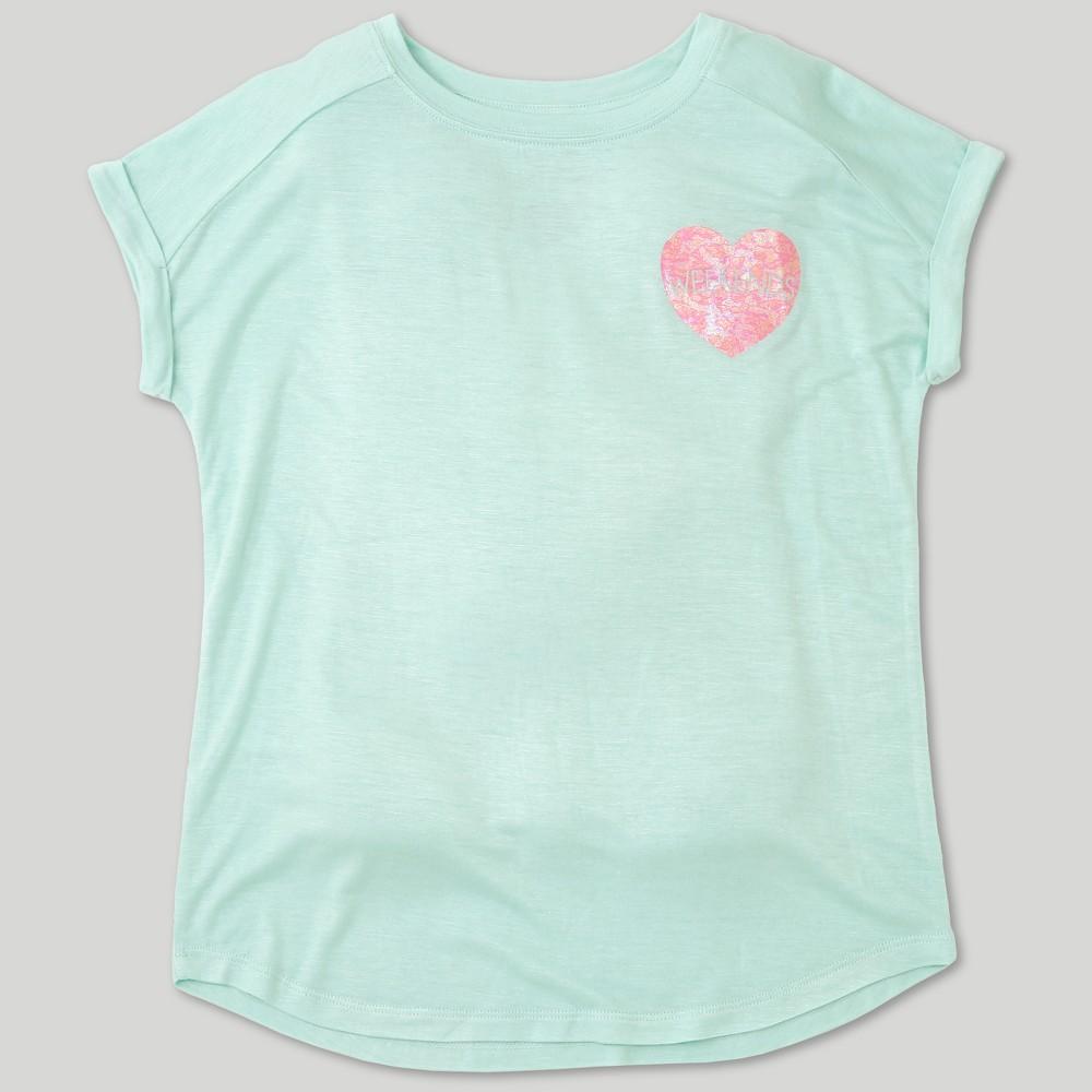 L.O.L. Vintage Girls' Heart Graphic Short Sleeve T-Shirt - Mint Green XL