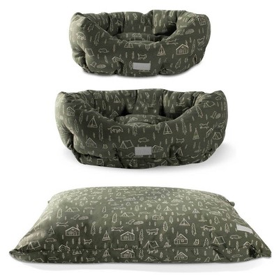 PetShop by Fringe Studio Camping Olive Pillow Dog Bed with Polyfill Round Cuddler