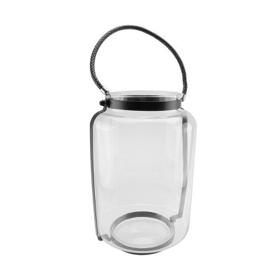 "Northlight 18"" Clear Glass Hurricane Candle Holder Lantern with Jet Black Metal Frame"