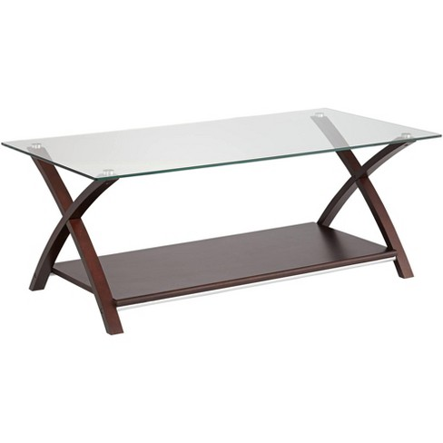 Elm Lane Ashton Espresso Wood and Glass Top Coffee Table - image 1 of 4