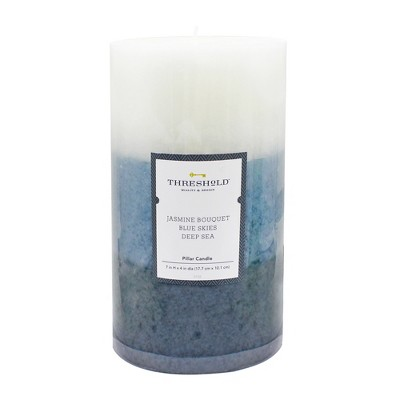 7  x 4  Layered Mottled Pillar Candle Jasmine Bouquet/Blue Skies/Deep Sea - Threshold™