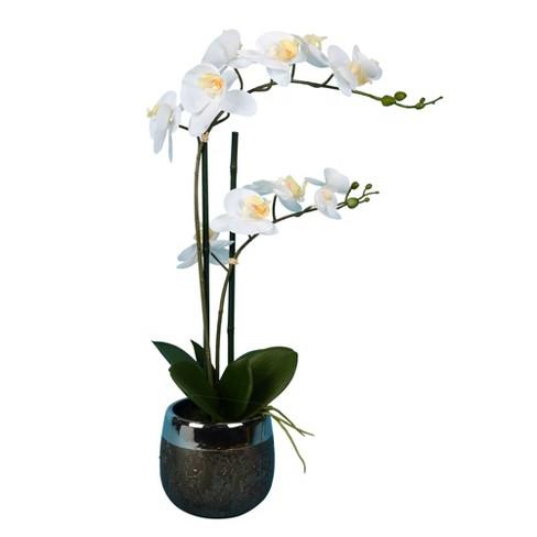 "Vickerman 23"" Artificial White Phalaenopsis In Metal Pot. - image 1 of 3"