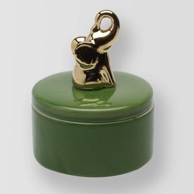 4.9oz Lidded Ceramic Elephant Jar Candle Bamboo Flower - Opalhouse™