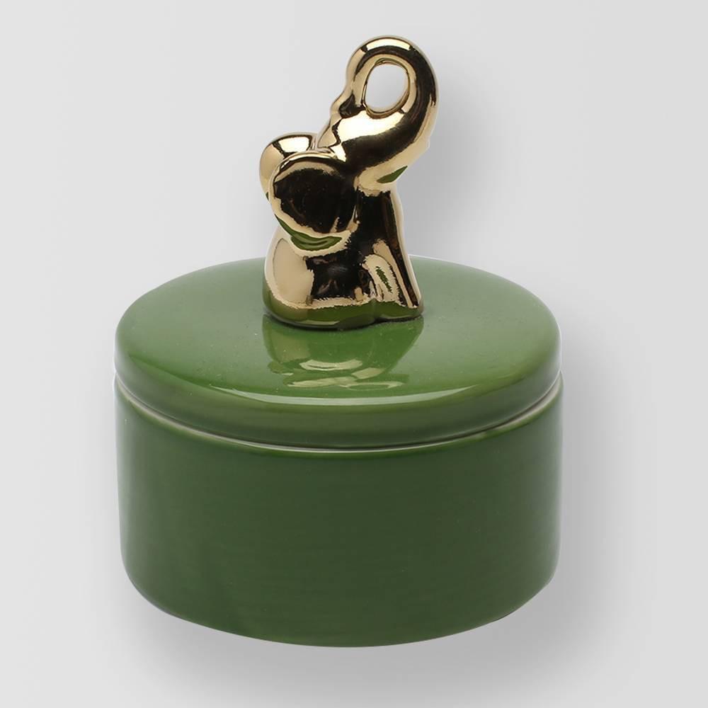 4.9oz Lidded Ceramic Elephant Jar Candle Bamboo Flower - Opalhouse, Green