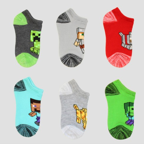 Boys' Minecraft 6pk Socks - Charcoal Heather - image 1 of 1