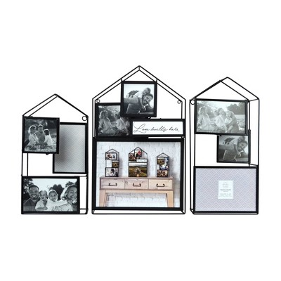 "(Set of 3)24"" x 16.25"" House Metal Wire Collage Picture Display Black - Prinz"