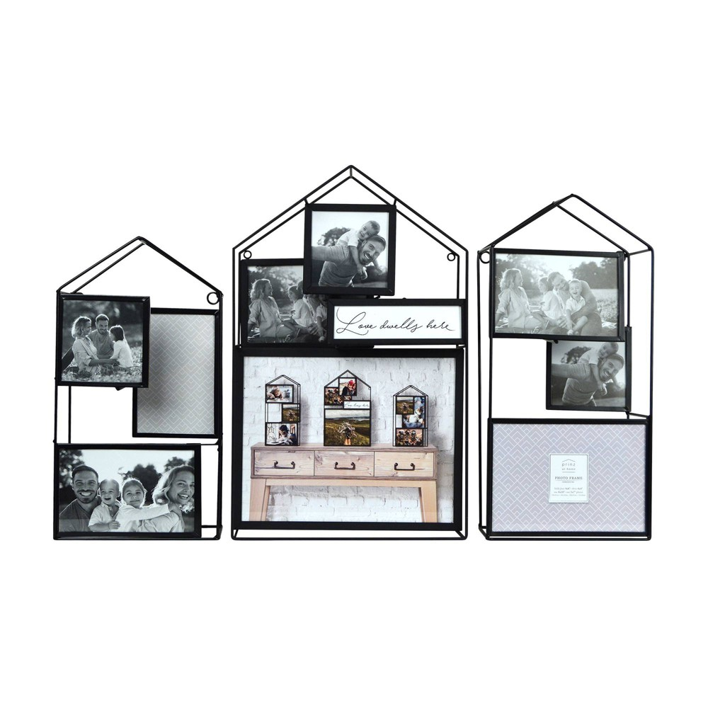 Image of 3 Dimensional House Metal Wire Collage Picture Display Black - Prinz