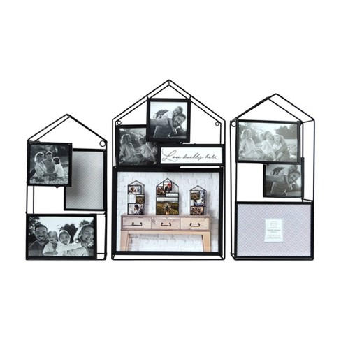 """(Set of 3) 24"""" x 16.25"""" House Metal Wire Collage Picture Display Black - Prinz - image 1 of 4"""