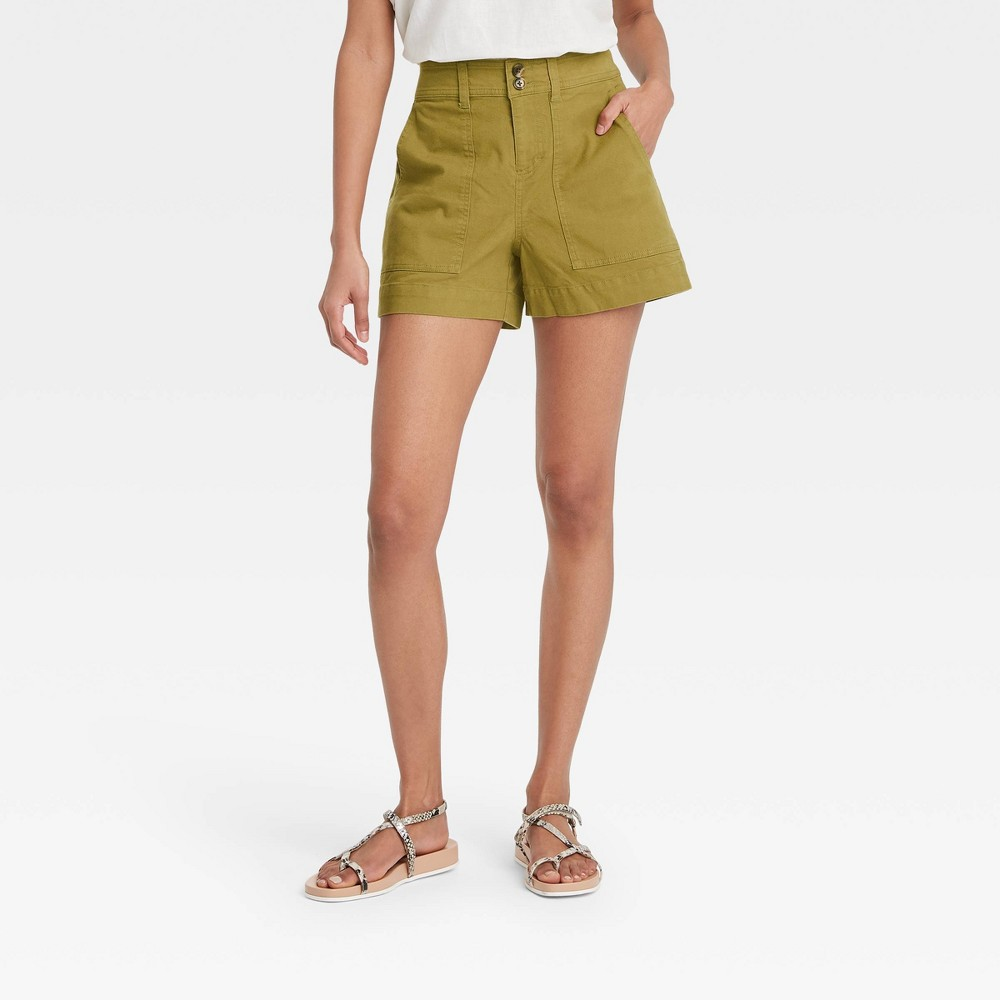 Women 39 S High Rise Shorts A New Day 8482 Olive Green 14