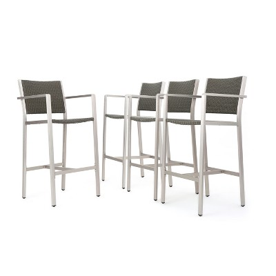 Cape Coral 4pk All-Weather Wicker/Metal Patio Barstools - Gray - Christopher Knight Home