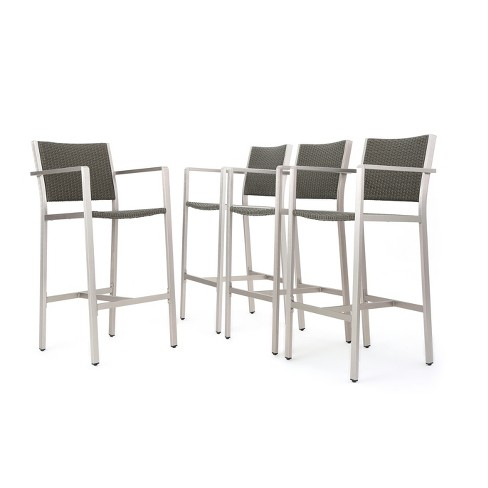 Cape Coral 4pk All-Weather Wicker/Metal Patio Barstools - Gray - Christopher Knight Home - image 1 of 4