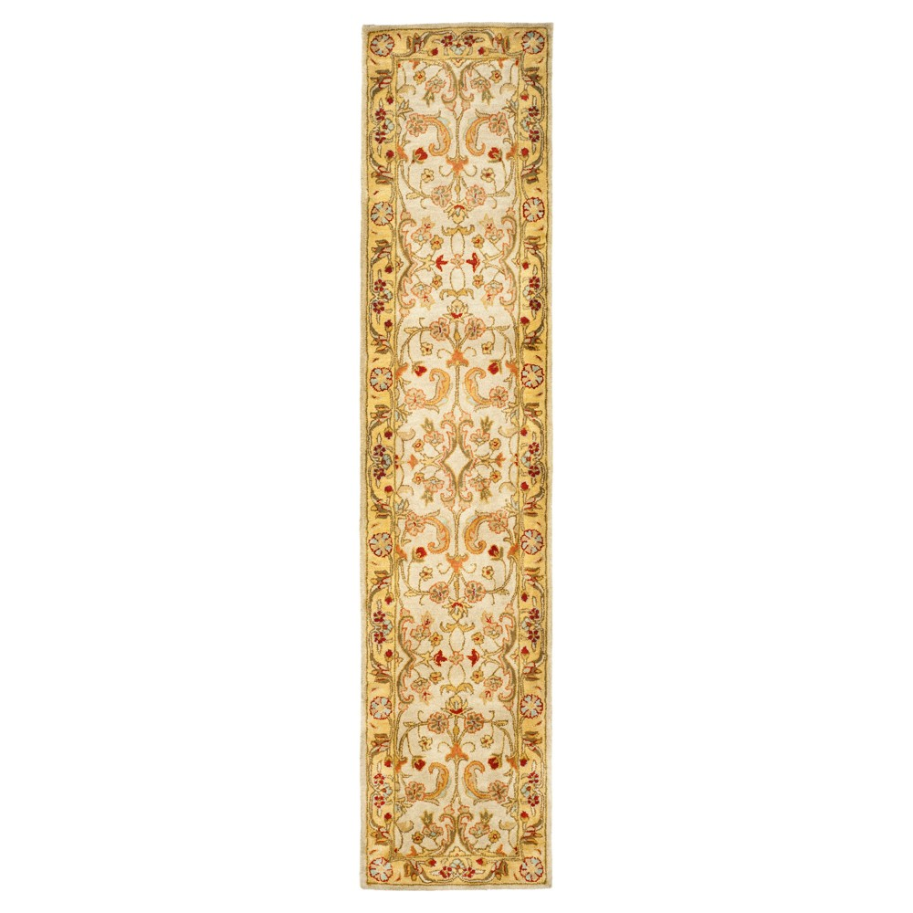 Gray/Light Gold Floral Tufted Runner 2'3X10' - Safavieh