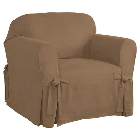Relaxed Fit Smooth Suede Furniture Chair Slipcover - Serta - image 1 of 2