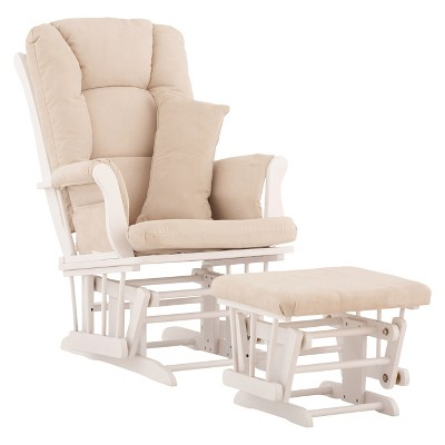 Stork Craft Tuscany White Glider and Ottoman - Beige