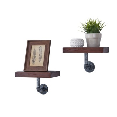 Industrial Wall Shelf - Set of 2 - Brown