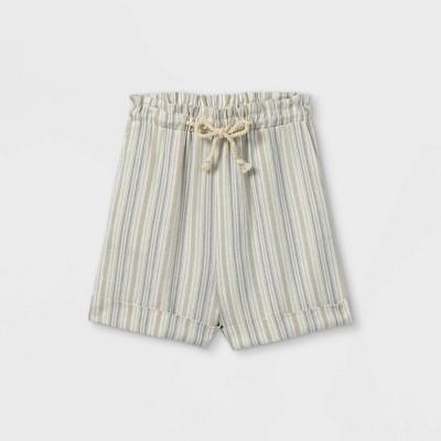 Girls' Paper Bag Tie Waist Shorts - art class™