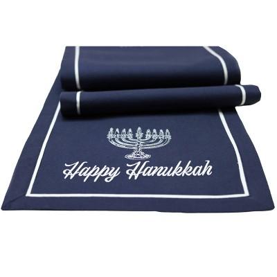 """14"""" x 72"""" """"Happy Hanukkah"""" Table Runner Velvet Navy - Threshold™"""