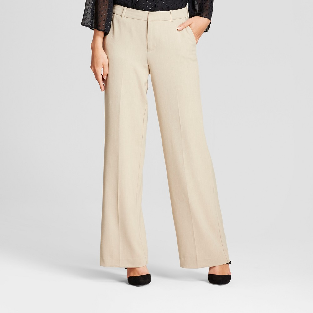Women's Wide Leg Bi-Stretch Twill Pants - A New Day Khaki (Green) 8