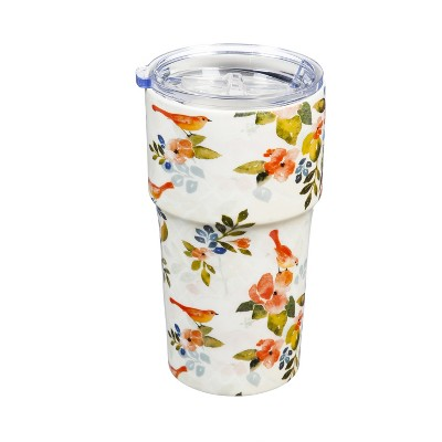 Evergreen Flag Double Wall Ceramic Companion Cup with Tritan Lid, 13 OZ, Mighty Floral Pattern