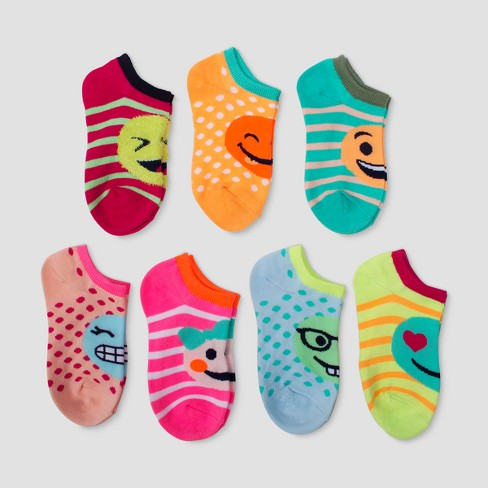 Girls' 7pk Emoji Ankle Socks - Cat & Jack™ Colors Vary - image 1 of 1