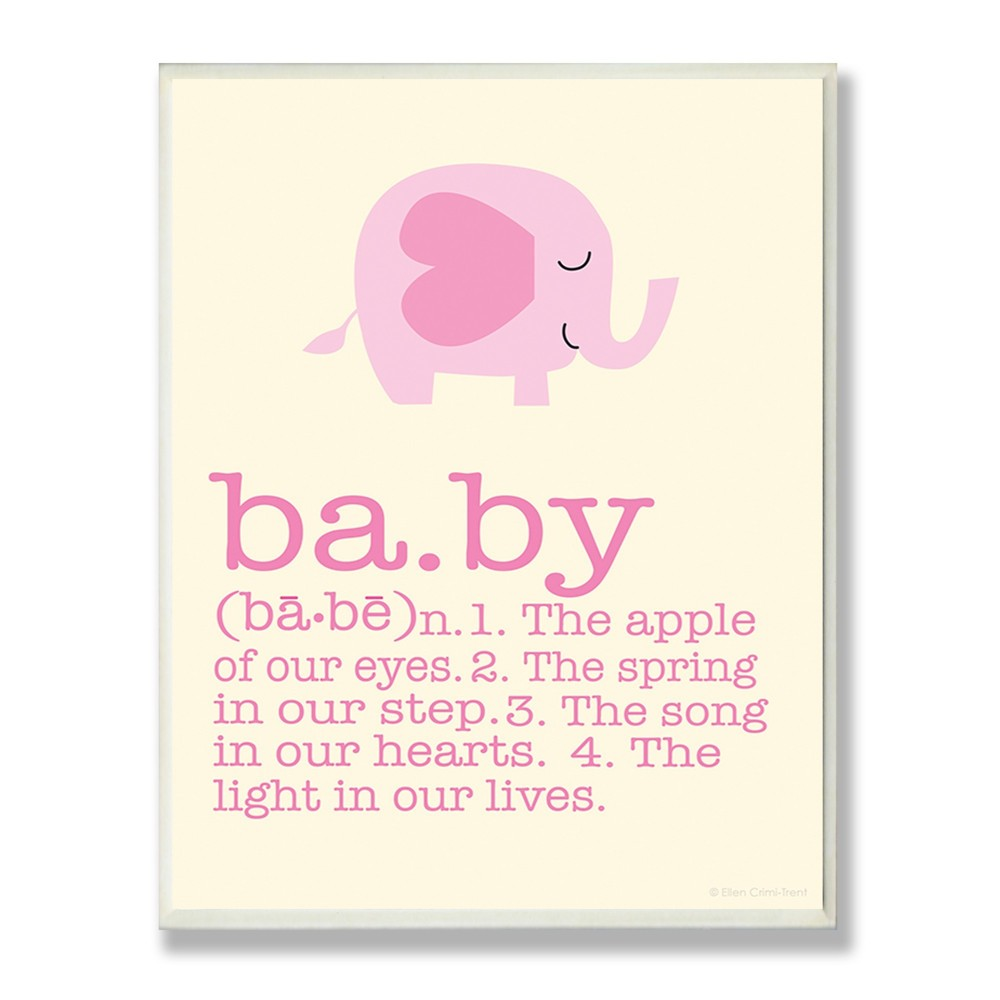 "Image of ""Definition Of Baby With Pink Elephant Wall Plaque Art (10""""x15""""x0.5"""") - Stupell Industries"""