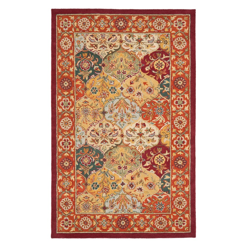 Floral Area Rug Red