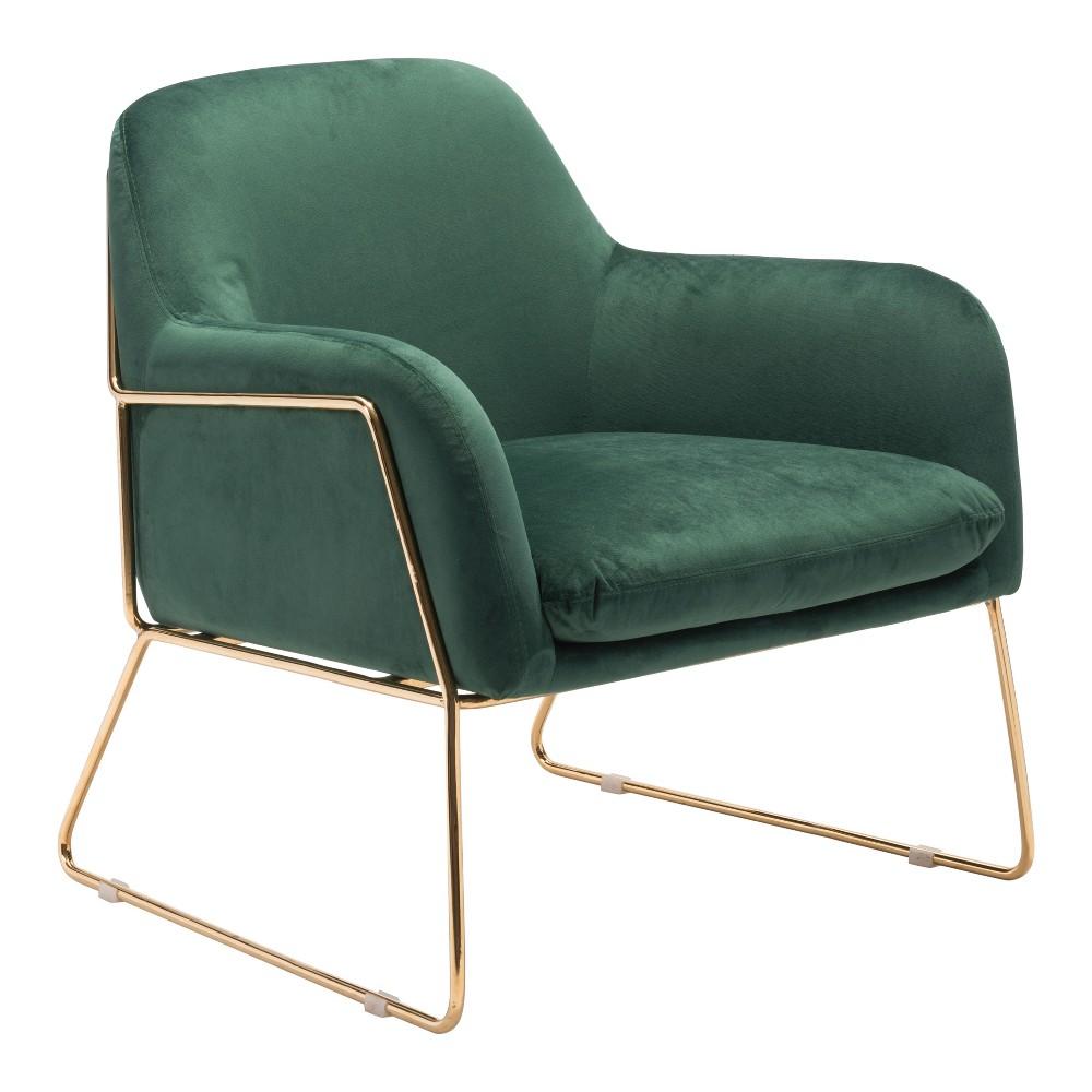 Luxe Velvet Arm Chair Green - ZM Home
