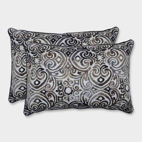 2pk Oversize Corrinthian Driftwood Rectangular Throw Pillows Black - Pillow Perfect - image 1 of 1