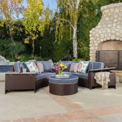 Madras Tortuga 8pc Wicker 1-2 Round Seating Set with Ottoman - Christopher Knight Home