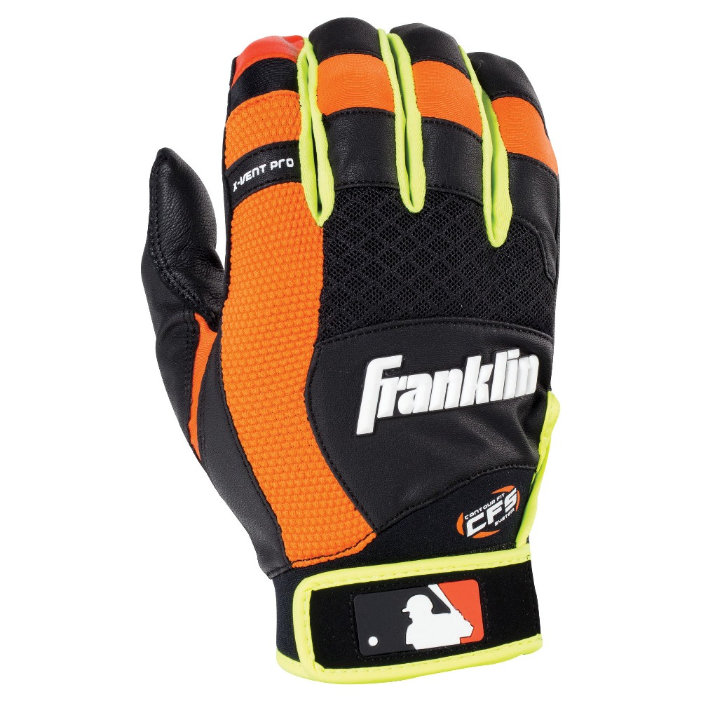 Franklin Sports X-Vent Pro Adult Batting Glove - Black/Neon Orange/Optic Yellow (L), Black Orange