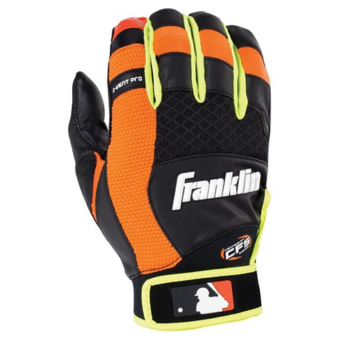 Franklin Sports X-Vent Pro Batting Glove Black/Neon Orange/Optic Yellow Adult - image 1 of 2
