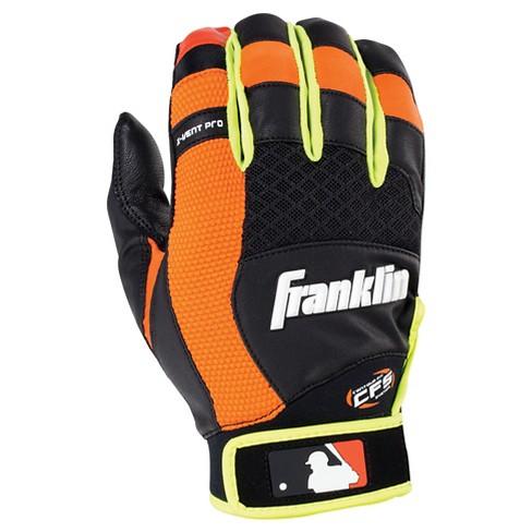Franklin Sports X-Vent Pro Batting Glove Black/Neon Orange/Optic Yellow Adult - image 1 of 2