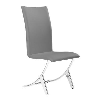 Set of 2 Modern Chromed Steel Tube Dining Chair - ZM Home
