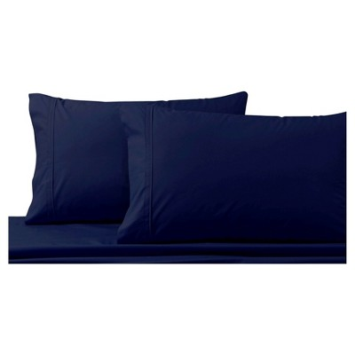 Cotton Percale Solid Pillowcase Pair (Standard)Midnight Blue 300 Thread Count - Tribeca Living®