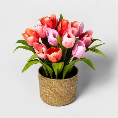 "14"" x 12"" Artificial Tulip Arrangement in Woven Basket Pink/Natural - Threshold™"