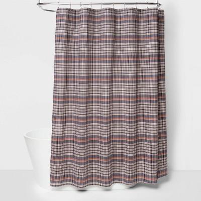 Yarn Dye Adieu Plaid Striped Shower Curtain Blue - Threshold™