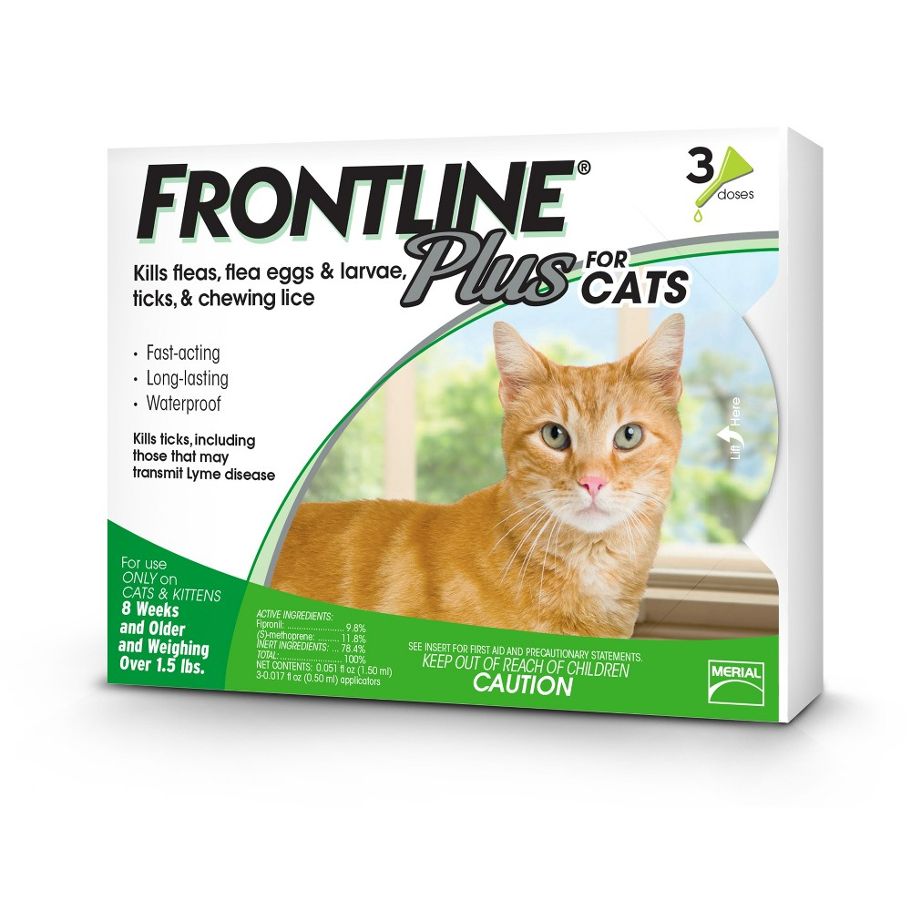 Frontline Plus Pet Insect Treatment for Cats and Kittens - 8 weeks and older - 3 doses