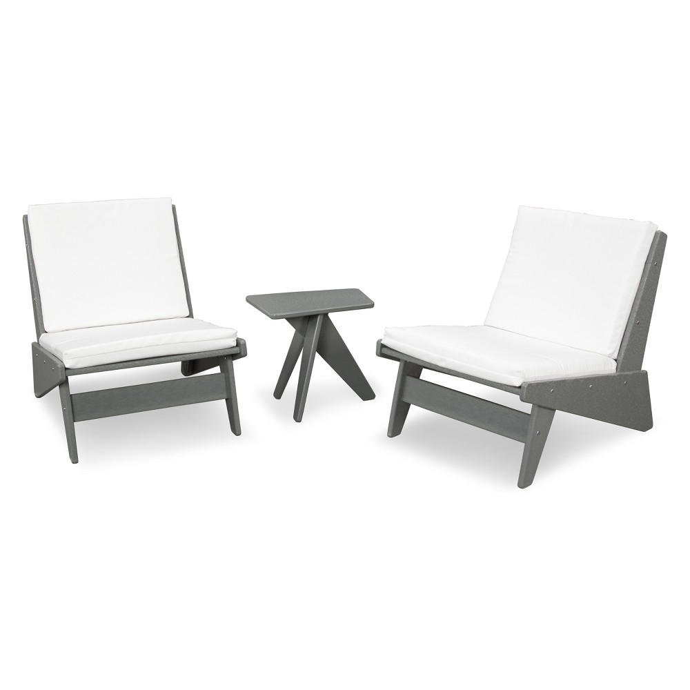Best Price Polywood St Croix 3pc Modern Lounge Set GrayWhite WhiteGray