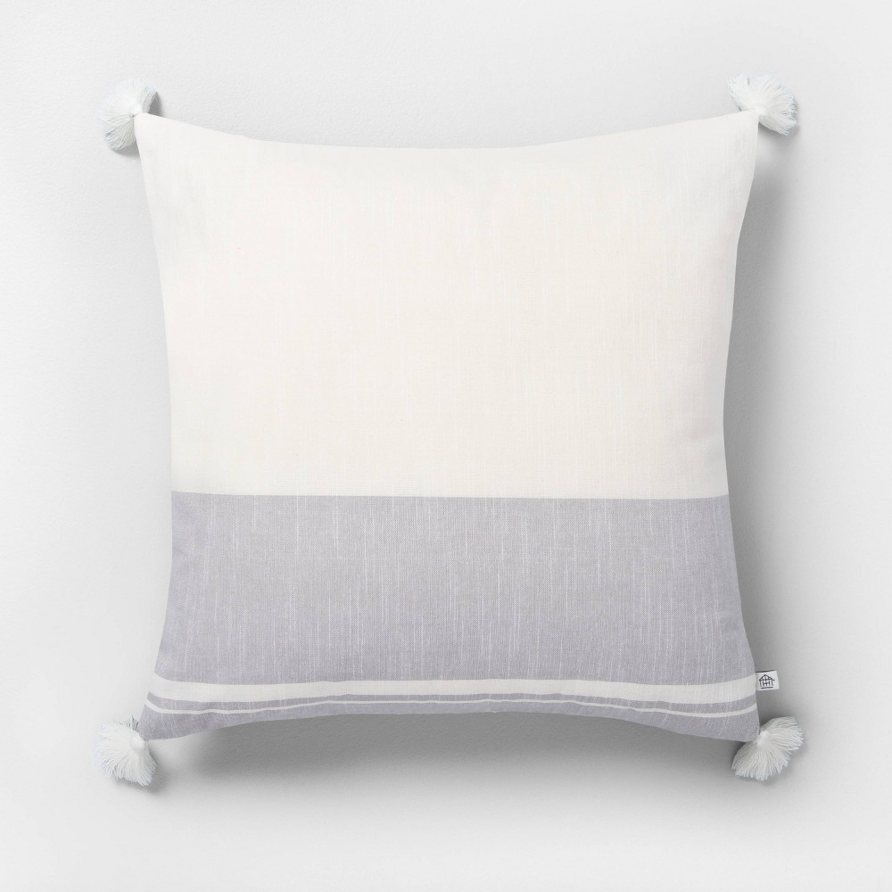 """Image of """"18"""""""" x 18"""""""" Color Blocked Stripe Tassel Throw Pillow Neutral Gray - Hearth & Hand with Magnolia"""""""