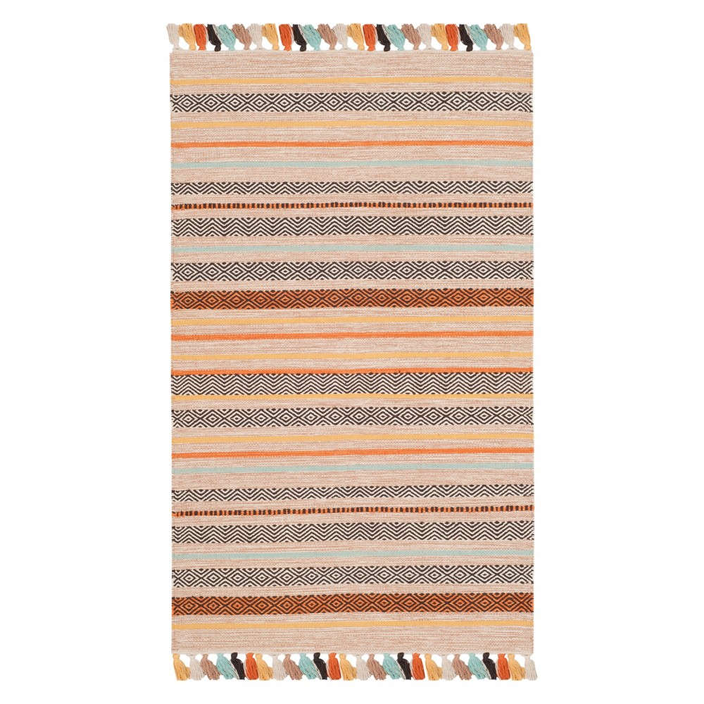 3X5 Stripe Woven Accent Rug Beige - Safavieh Top