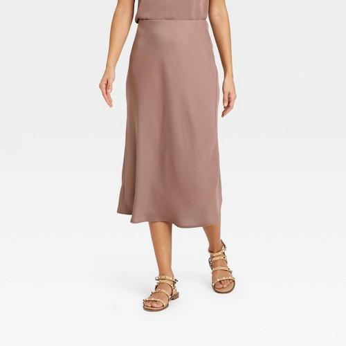 Women S High Rise Midi Slip A Line Skirt A New Day Brown XXL
