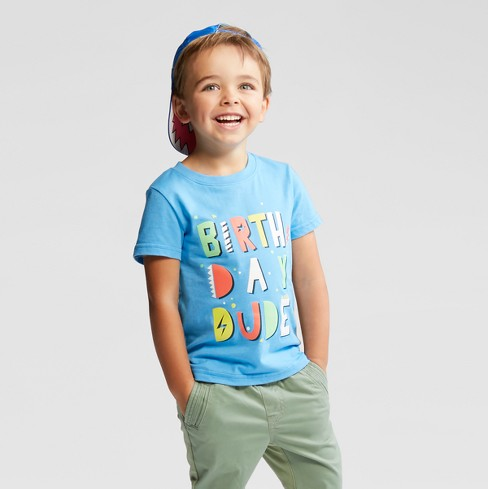 Toddler Boys' Birthday Dude Short Sleeve T-Shirt - Cat & Jack™ Blue - image 1 of 3