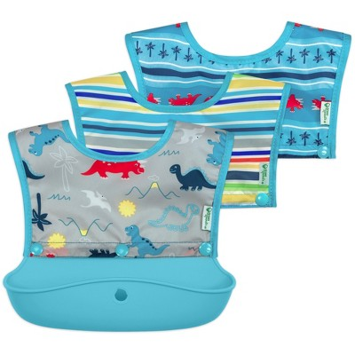 green sprouts Snap & Go Silicone Food Catcher Bib 3-in-1 Aqua Dinosaur