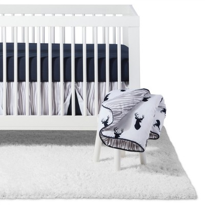 Sweet Jojo Designs Crib Bedding Set - Navy & White Stag - 11pc