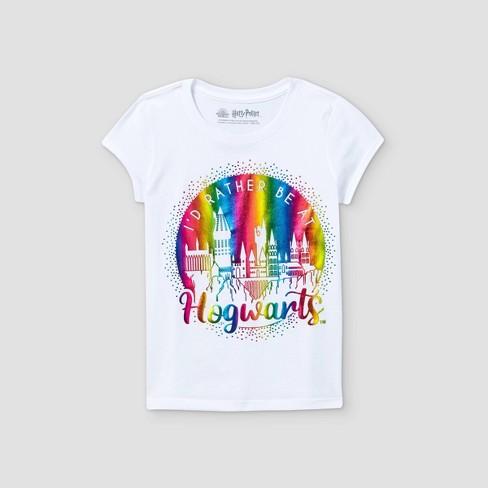 Girls' Harry Potter Rather Be At Hogwarts Short Sleeve Graphic T-Shirt - White - image 1 of 2